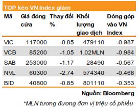 top chung khoan lam giam chi so VN-index